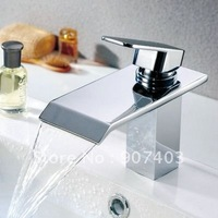 Free ems shipping new design waterfall bathroom basin & sink mixer tap solid brass chrome faucet 1102B