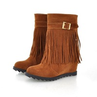 Free shipping, Newest,  clearance, tassels,  elevated, sloping, high-heeled,  Korean women's Snow boots