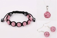 Wholesale Shambala 10mm pink  9pcs Disco Ball Bead bracelet&earrings&necklace set free shipping,fashion Shamballa Jewelry set