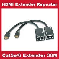 Cat5 Cat 5e/6 HDMI DVI UTP Balun AV Extender Repeater 30 Meter HDTV Signal Amplifier