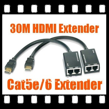HDMI Extender, HDMI Booster, HDMI Repeater 1080P VIA Cat5e / 6 Cable 30M free shipping