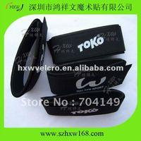 Free shipping HXW-A137 46X485mm Black Velcro ski clip with 1 color custom logo for alpline skis