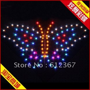 Butterfly led kite,3 Sqm with 400 pcs led lights,Free shipping !Wholesale!night kite,include lithium battery.hotesell(China (Mainland))