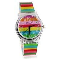 latest style Stylish Rainbow Pattern Women's Analog Watch with Plastic Strap(colour)women's watch.Children watches+free shipping