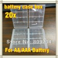 20/lot Hard Plastic Case Holder Storage Box AA AAA Battery clear White+Free Shipping!