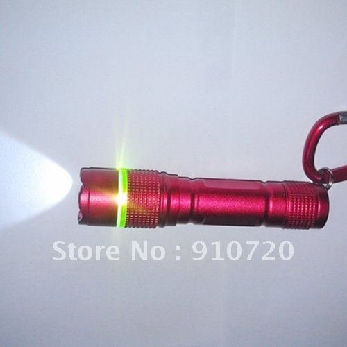 Mail Free+1PC 9212 Laser Pointer Flashlight 1 LED 2 Mode Zoomable Waterproof Mini Torch+Green Ring+Carabina Hook+4*LR44 Battery(China (Mainland))