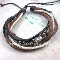sl271/Free shipping,PU leather bracelet,high quality casual skull knited bracelet,fashion jewelry,100% handmade jewelry