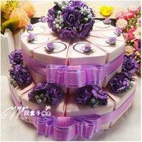 5Sets (100Pcs ) Free Shipping Luxury  Wedding  Double Cake Box