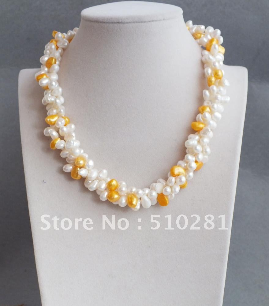 Free shipping !!! White and Yellow beads make up a beautiful princess necklace(China (Mainland))