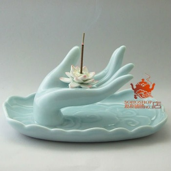 Well-known Longquan Celado incense holder. Handmade buddhist ceramic burners.16x11x7.5cm.Incense stick cone coil burner holder.