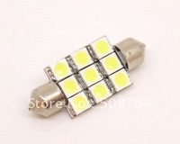 Free shipping New 100pcs/lot 12V 31mm 9SMD 5050LED white Car Auto Light Bulbs LED License Plate Light LED Festoon Lights Bulbs