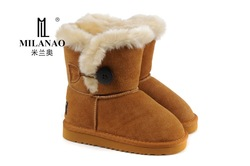 free shipping children's winter snow boots 8310 various colors fashion kids genuine cow leather australia warm wool boot 26-35(China (Mainland))