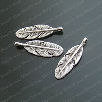 (14213)Free Shipping Wholesale Vintage Charms & Pendants  Alloy Antique Silver 30*9MM Feather 50PCS