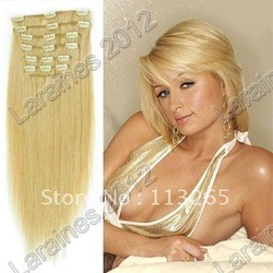 "20""-24"" straight remy clip in hair extensions #22 medium blonde Heat Resistant Brazilian human hair 7pcs 70g/set 10sets/lot(China (Mainland))"
