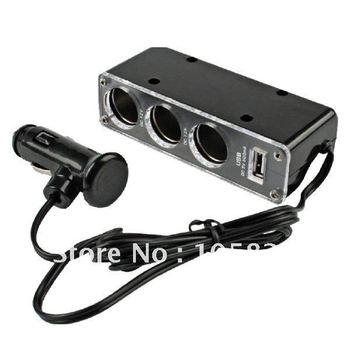 Car Cigarette/Cigar Lighter Charger Socket Adapter 1 to 3 way Splitter socket 12V/24V Extension Hub USB 10pcs/lot free shipping