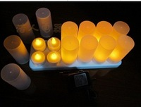 candle light flameless yellow led tea lights with frosted cup 12set