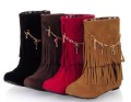 instock fashion frosted tassels rise wedge women boots shoes ladies' casual Martin boots shoes  free shipping 4 color
