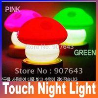 New LED flashing Mushroom Push Press Down Touch Night Light Bedlamp Lamp,Mushroom night light  Free Shipping