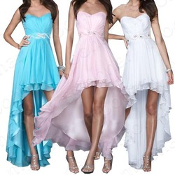 Stock Front Short Long Back Gowns Party Prom Ball Chiffon Evening Asymmetric Cocktail Dress LF069(China (Mainland))