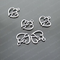(19632)Free Shipping Wholesale Vintage Charms & Pendants  Alloy Antique Silver 19*16MM Heart 50PCS