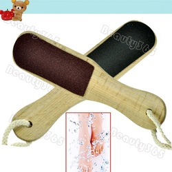 5pcs/Lot New Double Sided Foot Rasp File Callus Remover Pedicure Wood Handle Wholesale 4577(China (Mainland))