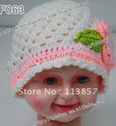 Free shipping (10pcs/lot)100% cotton toddler and child crochet baby beanie flower hat free knitting patterns newborn caps(China (Mainland))