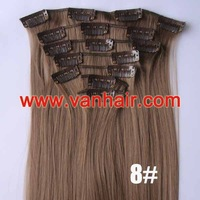 22inches 7PCS Clip in Synthetic Hair Extensions 90g/set #08-chestnut brown,Straight