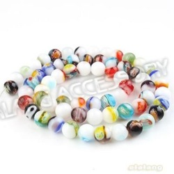 Free Shipping 6Strings/lot Fashion Colorful Flower Round Ceramic Charms Loose Beads Fit Nacklace Findings 111876(China (Mainland))