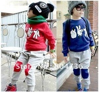 free shipping boys girls sports clothing set children clothes sets kids fleeces+Harem Pants baby whole suit sports wear