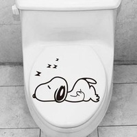 Animal cartoon glass sticker, the dog  sleeping toilet sticker, ambry stick free stickers wall sticker