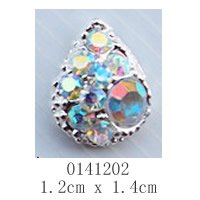 free shipping (10 pieces/pack) 3D white silver conch Alloy AB color Rhinestone Nail Art iphone mobile Glitter Decoration