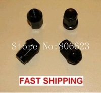 "24 BLACK CLOSED BULGE ACORN WHEEL/LUG NUTS 7/16-20 35MM (1.44"") TALL"