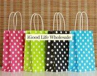 50pcs/lot  21x13x8cm dot paper bag kraft bag kraft paper bag kraft paper shopping bag