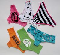 Victoria vs pink cartoon sexy low-waist briefs pure cotton panties women's 100% cotton seamless 1