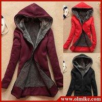 NEW free shipping hair lining women hooded cardigan sweater,full zip sweatshirts,hooded sweatshirts,women hooed 5colour SWS246