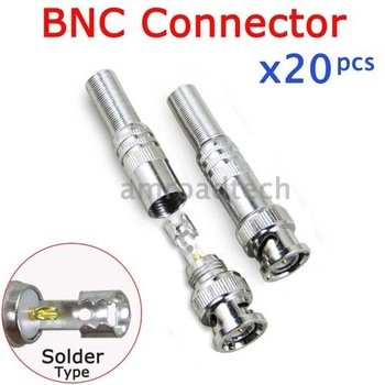 20pcs BNC Male Solder on Type Socket Connector Adapter for CCTV Camera RG59 Coaxial Coax Video Cable from AMROAD Store