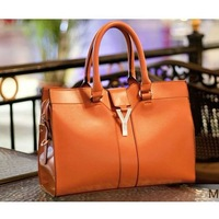 Woman Lady Girl Chic Cabas Leather Shoulder Messenger Y Emblem Buckle  Hobo Clutch Shopper Weekend Bag Tote Handbag #8097
