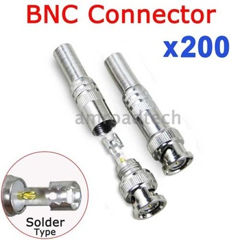 200pcs BNC Male Solder on Type Socket Connector Adapter for CCTV Camera RG59 Coaxial Coax Video Cable from AMROAD Store, DHL/EMS