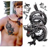 Tattoo stickers waterproof and sweat men Black Dragon big in Europe and large patterned chest and back