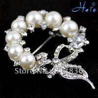 P168-377 3PC/Lot Gift Pearl Brooch Metal Alloy Rhinestone Imitation Diaomond Ladies' Crystal Fashion Wedding Jewellery