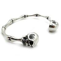 Free Shipping, SKULL Ettin Bone Link Silver Charm Bangle Bracelet Stainless Steel Bracelet Fashion PUNK New Gift