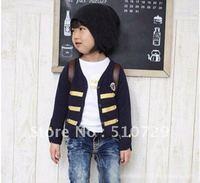 free shipping baby coats knights v-neck topcoat fashion clothes kids casual wear boy girl dark blue jackets 5pcs/lot wholesale