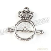 60pcs/lot Wholesale Vintage Silver Tone Alloy Crown Toggle Hook Clasps Jewelry Findings 23x15x4mm 160777(China (Mainland))