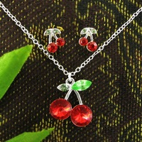 Free Shipping T239 / Cherry Jewelry, Charm 925 Silver Red Cherry Pendant Earrings Necklace Jewelry Set, Lovely Fashion Jewelry