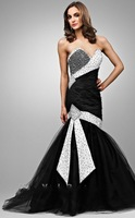 2013 Free Shipping!sweet neckline white and black beaded sheath mermaid with bows tulle and satin mother of the bride dresses