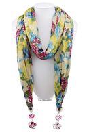 1pc Retail Solid cotton pashmina shawl Floral pendant  Necklace women's scarf  shawl wrap Free shipping SC028
