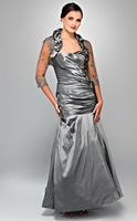 Free Shipping!sweet neckline sheath mermaid appliques tulle beaded full-length silvery custom-made mother of the bride dresses