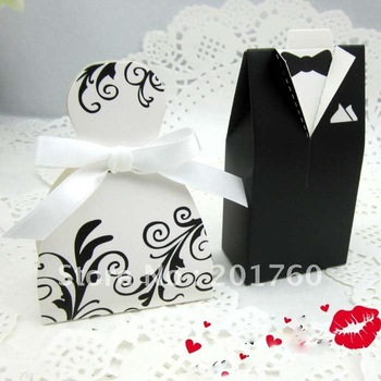 Black Decorative pattern Wedding favor boxes gift paper bags candy boxes Bridal Gown Dress Groom's Tuxedo 200pcs/lot