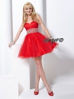 Stunning sparkly Beaded Red Short Homecoming Dress HL-SD461