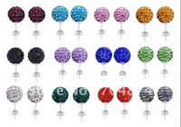 Free Shipping. 200 pcs=100pairs 10MM Clay CZ Crystal Disco Ball Bead Shamballa Earrings Studs ,Mixed Colors Delivery